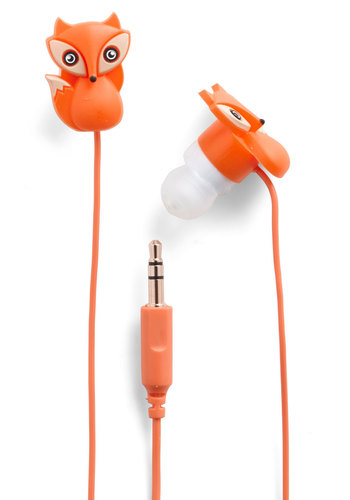 The Fox and the Sound Earbuds - Critters, Woodland Creature, Orange, Good, Travel
