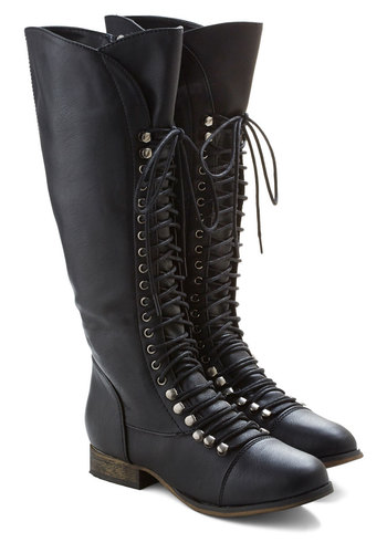 Follow the Cedar Boot in Black - Black, Solid, Casual, Steampunk, Faux Leather, Lace Up, Low, Variation, Military, Gifts Sale, Knee