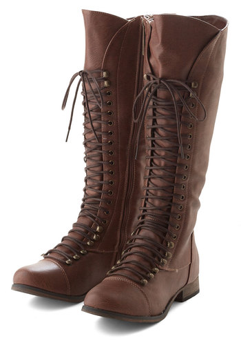 Follow the Cedar Boot in Medium Brown - Brown, Solid, Casual, Low, Faux Leather, Lace Up, Variation, Winter, Top Rated, Knee