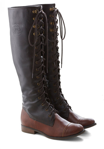 Chocolate Craving Boot - Brown, Solid, Casual, Safari, French / Victorian, Rustic, Fall, Steampunk, Faux Leather, Lace Up, Low, Best Seller, Top Rated, Knee