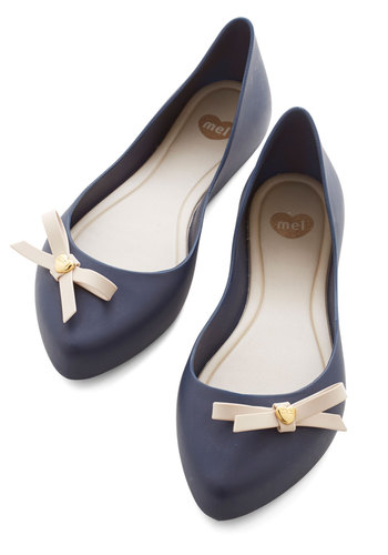 First Day of Cool Flat by Mel Shoes - Flat, Blue, Solid, Bows, Work, Casual, Darling, Better, Tan / Cream, Nautical