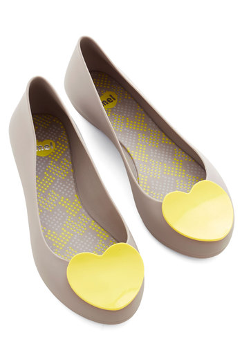 Follow Your Art Flat in Grey by Mel Shoes - Flat, Grey, Yellow, Solid, Party, Casual, Quirky, Darling, Better, Variation, Valentine's