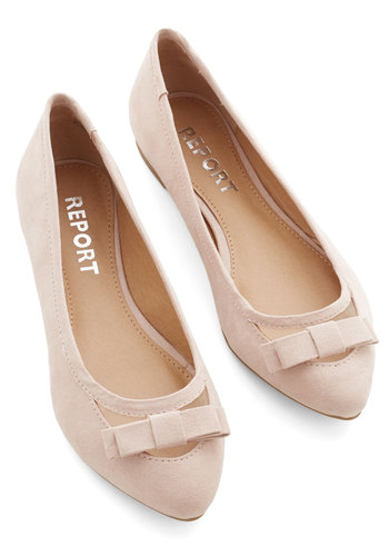 Report Footwear Shall We Dance? Flat in Sand - Flat, Faux Leather, Solid, Bows, Party, Work, Daytime Party, Better, Variation, Cream