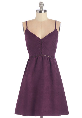Fall Music Festival Dress - Purple, Solid, Casual, A-line, Fall, Woven, Better, V Neck, Mid-length, Cutout, Pockets, Spaghetti Straps