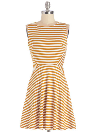 Homemade Honey Dress - Yellow, White, Stripes, Casual, Vintage Inspired, 60s, A-line, Sleeveless, Fall, Knit, Good, Mid-length, Crew, Nautical