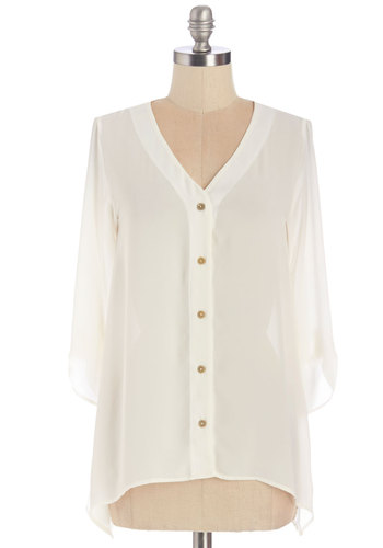 Need I Sashay More? Top - Chiffon, Woven, White, Solid, Work, Casual, Button Down, 3/4 Sleeve, White, 3/4 Sleeve, Buttons, V Neck
