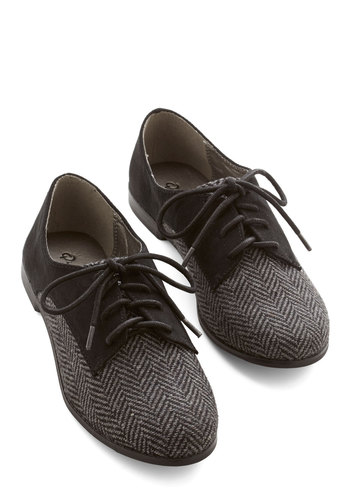 Stepping to the Beat Flat in Herringbone - Flat, Woven, Black, Herringbone, Work, Casual, Menswear Inspired, Vintage Inspired, 20s, Good, Lace Up, Variation