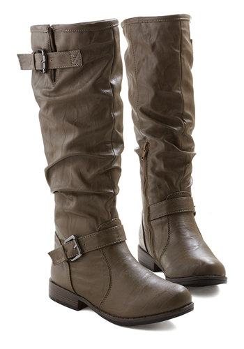 Movie Along Boot in Slate Brown - Low, Faux Leather, Brown, Solid, Buckles, Casual, Good, Fall, Variation, Knee