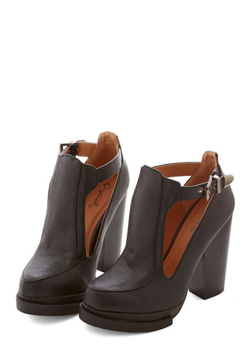 Tremendous Talent Bootie in Black - High, Faux Leather, Black, Solid, Buckles, Cutout, Party, Work, Casual, Vintage Inspired, 90s, Good, Chunky heel, Variation