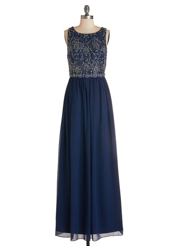 Riverfront Regalia Dress - Blue, Gold, Beads, Sequins, Special Occasion, Homecoming, Maxi, Sleeveless, Woven, Best, Boat, Long, Chiffon, Mixed Media, Full-Size Run