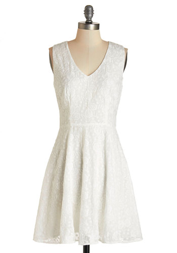 Cider Toasting Dress by BB Dakota - White, Solid, Embroidery, Daytime Party, Graduation, Fit & Flare, Sleeveless, Woven, Better, V Neck, Mid-length, A-line, Wedding, Bride, Party, Homecoming, Rustic