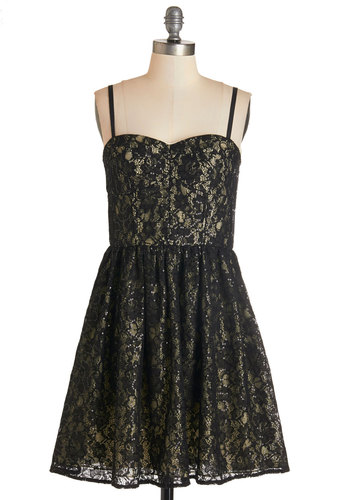 Admiring the Nightfall Dress - Black, Lace, Sequins, Party, A-line, Woven, Lace, Better, Sweetheart, Short, Spaghetti Straps, Homecoming, Holiday Party, Special Occasion, Gold, Prom