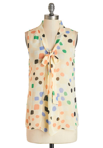 South Florida Spree Top in Dots - White, Long Sleeve, Sheer, Woven, Multi, Print, Tie Neck, Work, Daytime Party, Variation, Mid-length