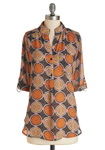 Songwriting Showcase Top - Sheer, Woven, Long, Multi, Orange, Brown, Print, Buttons, Pockets, Casual, Vintage Inspired, 70s, 3/4 Sleeve, Multi, Tab Sleeve, Fall