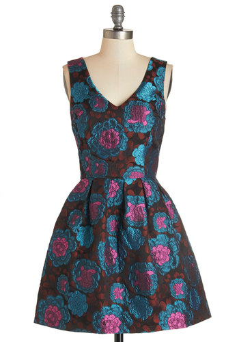 Glow by Heart Dress - Mid-length, Woven, Multi, Floral, Party, A-line, Sleeveless, Better, V Neck, Pleats, Exclusives, Homecoming