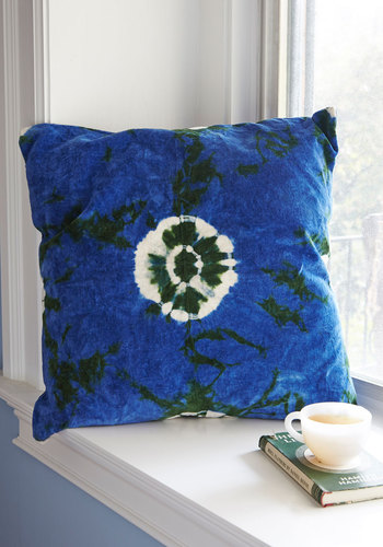 Life's Little Luxuries Pillow in Deep Sea by Karma Living - Cotton, Velvet, Multi, Tie Dye, Boho, Better, Blue, Variation, Guys, Graduation, 70s