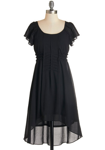 Alluring Simplicity Dress - Black, Solid, Pleats, Ruffles, Casual, Boho, A-line, Short Sleeves, Fall, Woven, Good, Scoop, Mid-length, High-Low Hem, Party
