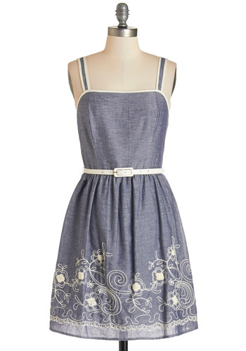 Kismet and Tell Dress - Blue, Embroidery, Trim, Casual, Sundress, A-line, Sleeveless, Cotton, Woven, White, Belted