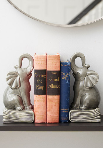 Paperback Pachyderm Bookends - Grey, Dorm Decor, Better, Critters, Graduation, Quirky