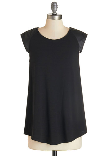 Distill the One Top - Mid-length, Knit, Black, Solid, Urban, Cap Sleeves, Scoop, Black, Short Sleeve