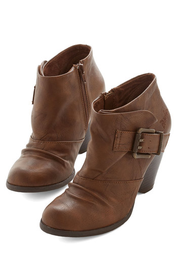 Stylish Stomp Bootie - Mid, Faux Leather, Brown, Solid, Buckles, Better, Casual