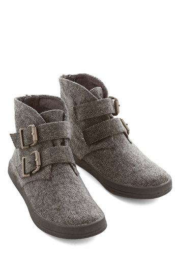 Lakeside Evening Bootie - Flat, Woven, Grey, Buckles, Casual, Better, Herringbone, Rustic