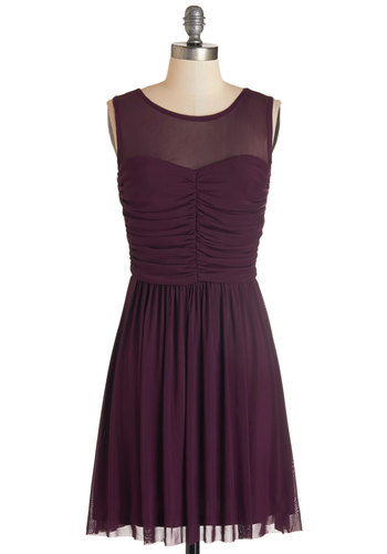 Night and Sway Dress in Plum by Jack by BB Dakota - Purple, Solid, Special Occasion, Party, A-line, Sleeveless, Good, Scoop, Knit, Ruching, Variation, Mid-length