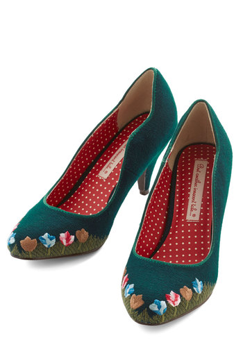 I'll Grow You the Way Heel by B.A.I.T. Footwear - Mid, Woven, Green, Solid, Floral, Embroidery, Party, Work, Darling, Better, Quirky
