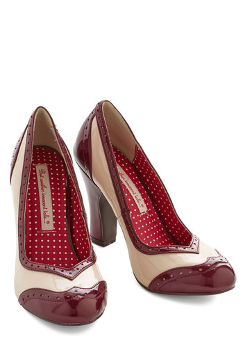 Editor's Choice Heel in Wine by B.A.I.T. Footwear - High, Faux Leather, Red, Tan / Cream, Solid, Party, Work, Vintage Inspired, 20s, 30s, Better, Chunky heel, Holiday Party