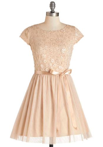 Glistening to the Music Dress - Flower, Sequins, Belted, Party, Homecoming, A-line, Cap Sleeves, Woven, Tulle, Better, Boat, Mid-length, Tan, Solid, Prom, Wedding, Bridesmaid, Special Occasion