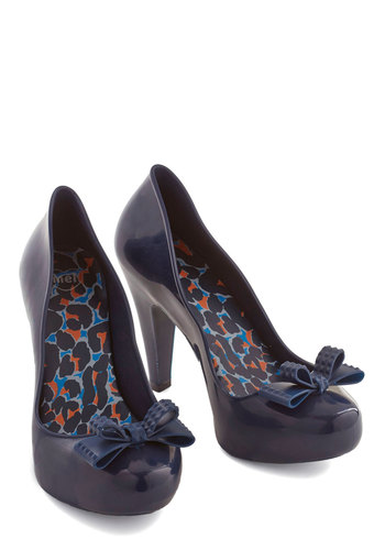 Snazzy Stride Heel by Melissa Shoes - High, Solid, Bows, Party, Work, Better, Blue