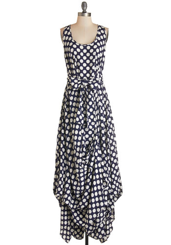 Sound Mixing Maven Dress - White, Polka Dots, Belted, Casual, Maxi, Sleeveless, Woven, Better, International Designer, Scoop, Blue