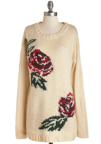 Study Closely Sweater by Pink Martini - White, Long Sleeve, Knit, Cream, Red, Floral, Casual, Long Sleeve, Fall, Winter