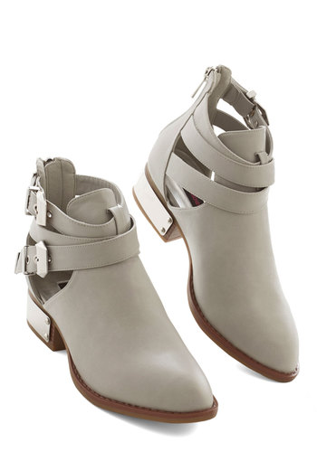 All-Around Style Bootie - Low, Faux Leather, Grey, Solid, Buckles, Cutout, Urban, Good, Strappy