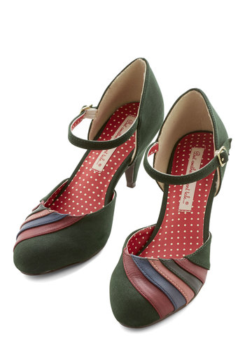 Harvest Display Heel in Forest by B.A.I.T. Footwear - Mid, Faux Leather, Green, Multi, Solid, Stripes, Party, Work, Vintage Inspired, 20s, 30s, Better, Mary Jane