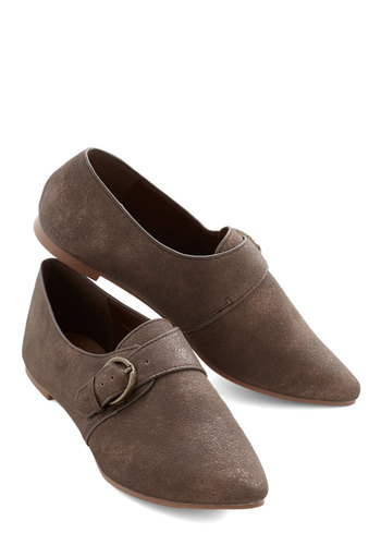 Office Coffee Run Flat - Brown, Solid, Buckles, Menswear Inspired, Better, Flat