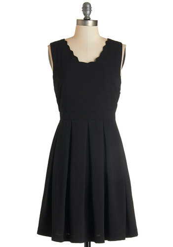 Voice Recital Dress - Black, Solid, Pleats, Scallops, Party, LBD, A-line, Sleeveless, Fall, Woven, Better, Scoop, Mid-length