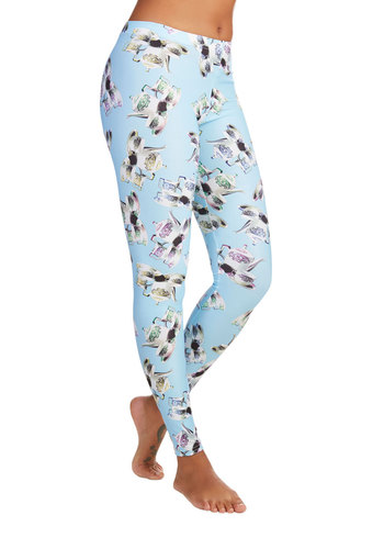Fresh Take Leggings in Teatime - Skinny, Better, Mid-Rise, Full length, Blue, Knit, Blue, Novelty Print, Casual, Quirky, Variation, Lounge