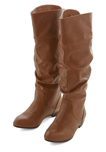 Spoken Word Star Boot - Low, Faux Leather, Tan, Solid, Ruching, Better, Casual, Rustic, Knee