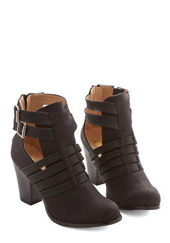 Day-to-Night Delight Bootie - Mid, Faux Leather, Black, Solid, Cutout, Urban, Minimal, Good