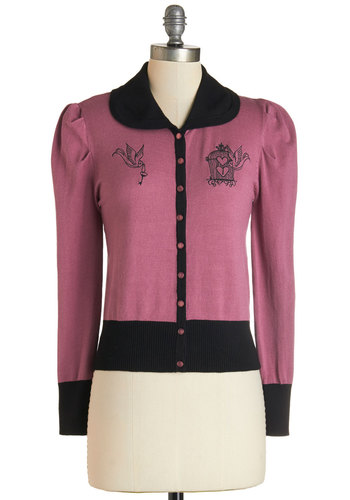 La Cage Aux Fun Cardigan - Pink, Long Sleeve, Short, Knit, Pink, Black, Buttons, Embroidery, Work, Vintage Inspired, Long Sleeve, Collared