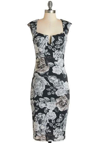 Diner Date Dress - Knit, Black, Grey, Floral, Girls Night Out, Bodycon / Bandage, Sleeveless, Good, Sweetheart, Cap Sleeves, Long