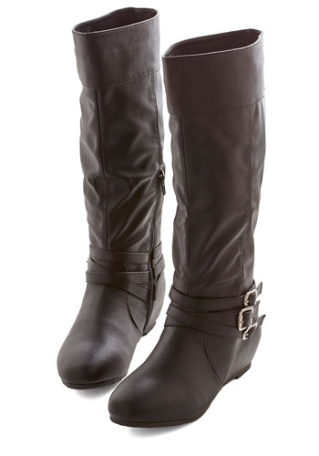 Especially Splendid Boot in Black - Flat, Faux Leather, Black, Solid, Buckles, Ruching, Good, Strappy, Casual, Variation, Knee