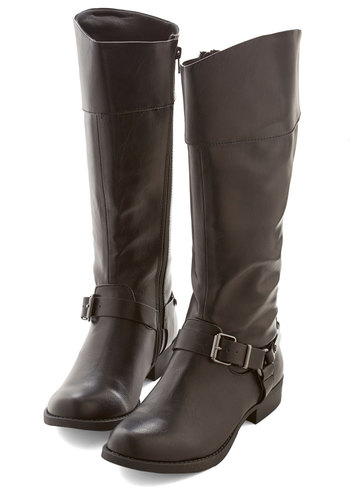 Harness Your Abilities Boot - Low, Faux Leather, Black, Solid, Buckles, Good, Casual, Knee