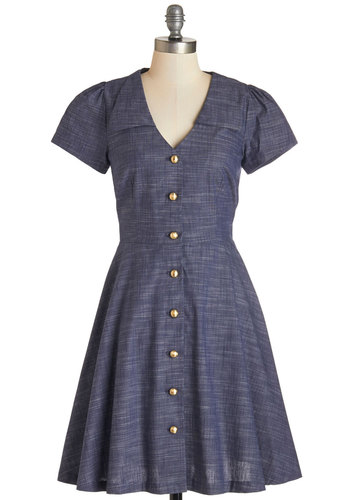 Floral Field Day Dress in Chambray by Bea & Dot - Cotton, Woven, Blue, Solid, Buttons, Work, Casual, A-line, Short Sleeves, Better, Exclusives, Variation, Private Label, Collared, Full-Size Run, Mid-length