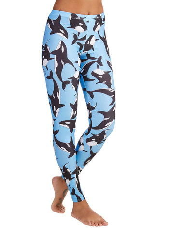Fresh Take Leggings in Orca - Skinny, Better, Mid-Rise, Full length, Blue, Knit, Blue, Black, White, Print with Animals, Nautical