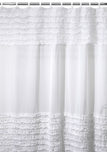 Frills and Grace Shower Curtain - White, Darling, Better, Solid, Ruffles, French / Victorian, Wedding
