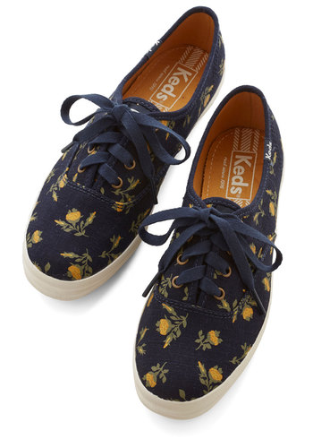 Grand Garden Gait Sneaker in Navy by Keds - Flat, Woven, Blue, Floral, Casual, Better, Lace Up, Variation, Darling