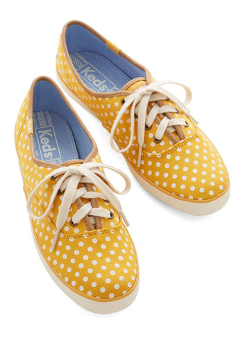 Night Classics Sneaker in Yellow by Keds - Flat, Woven, Yellow, Polka Dots, Casual, Better, Lace Up, Variation