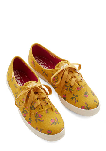 Grand Garden Gait Sneaker in Honey by Keds - Flat, Woven, Yellow, Floral, Casual, Better, Lace Up, Variation, Spring